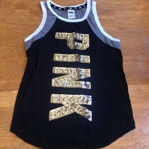 Pink gold bling sequined tank top NICE size Small